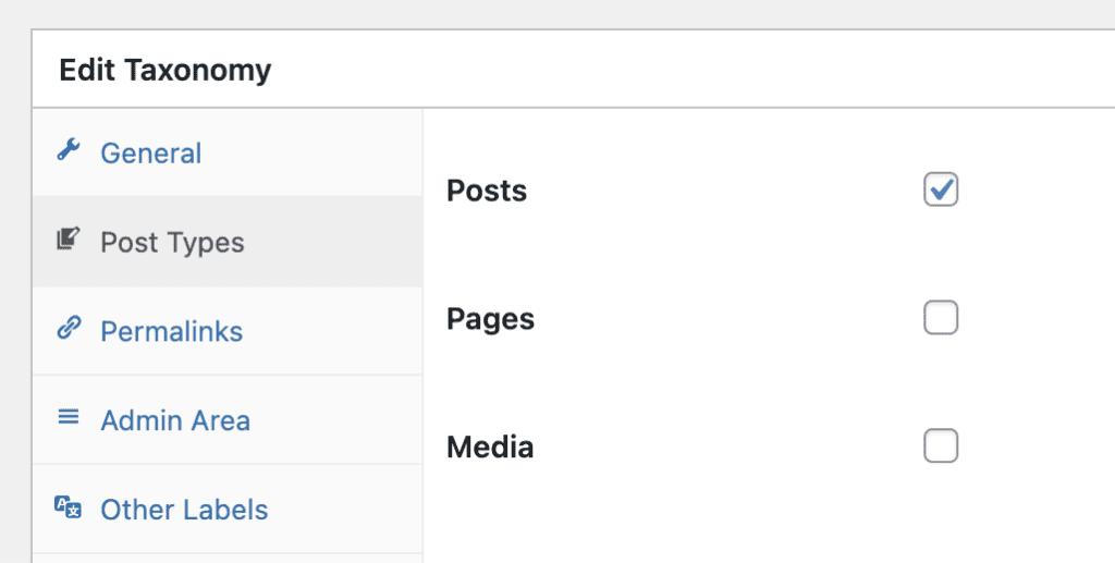 TaxoPress post type settings