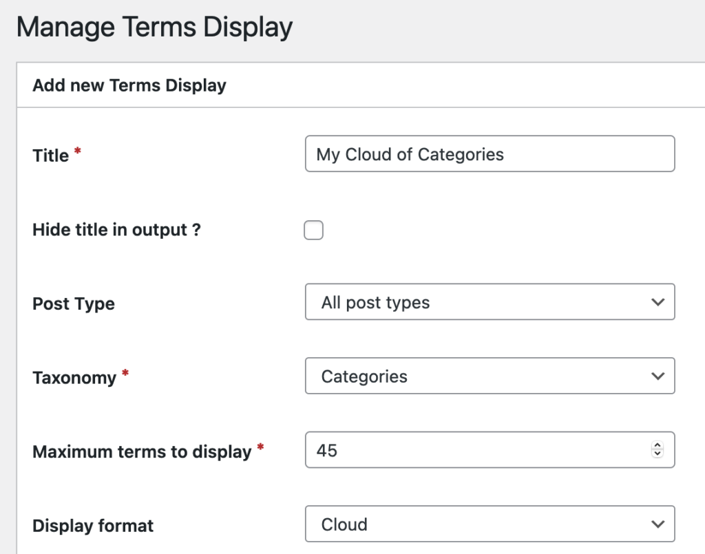 Settings for a terms display
