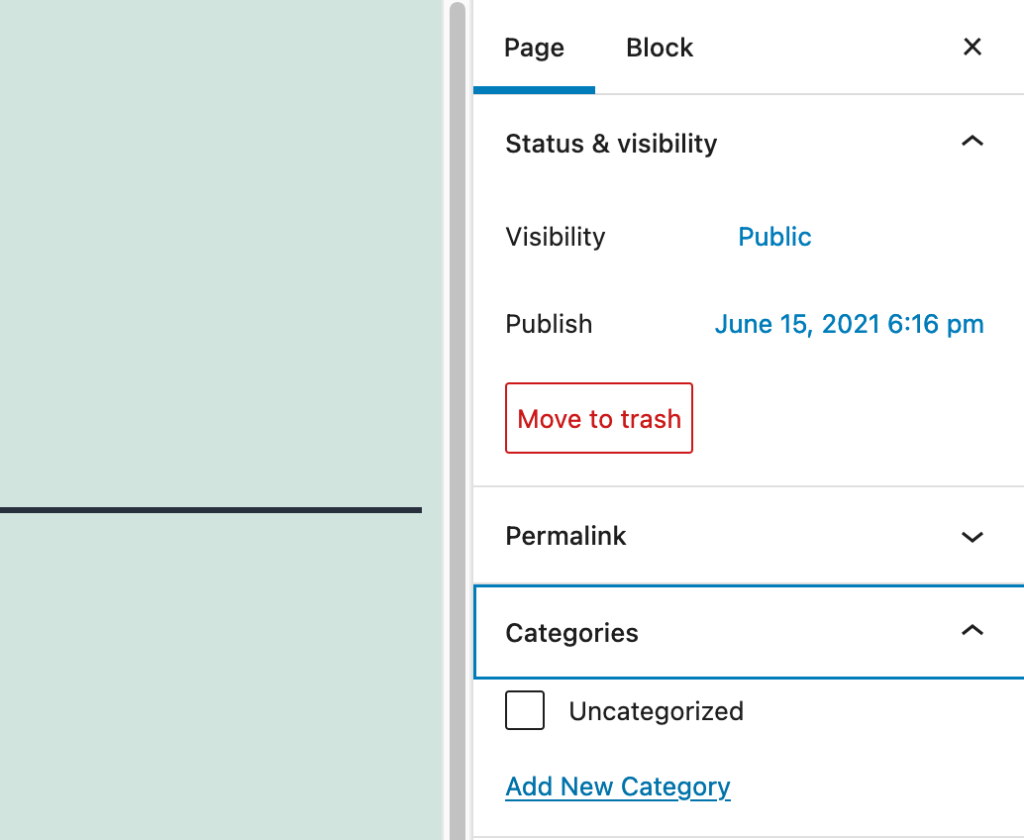 Using Categories when editing a Page in WordPress