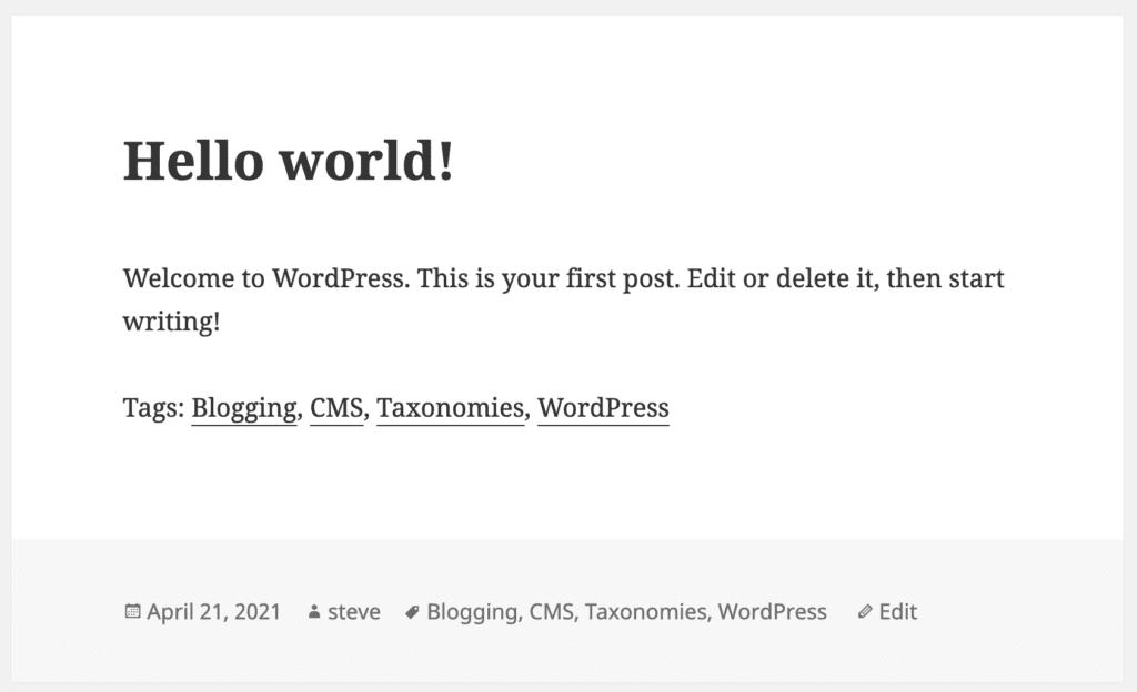 Tags on a WordPress post