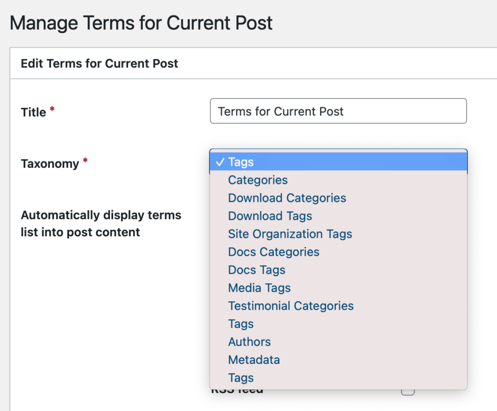 The Terms for Current Post settings in TaxoPress