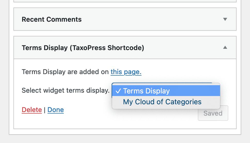 Widget display for a Tag Cloud