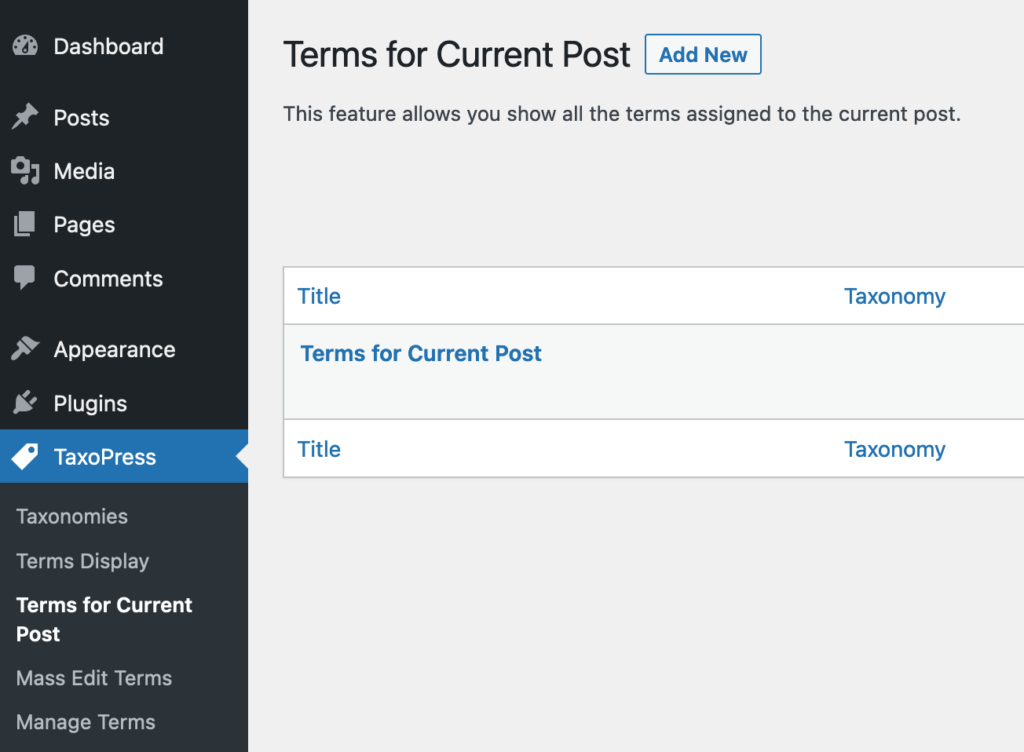 The Terms for Current Post display in TaxoPress