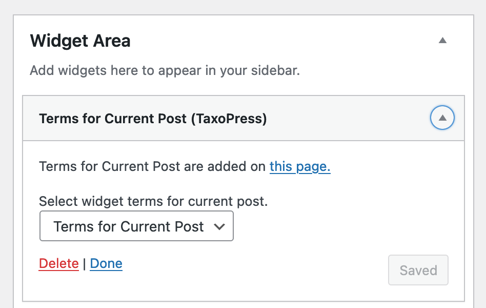 The Terms for Current Post widget in TaxoPress