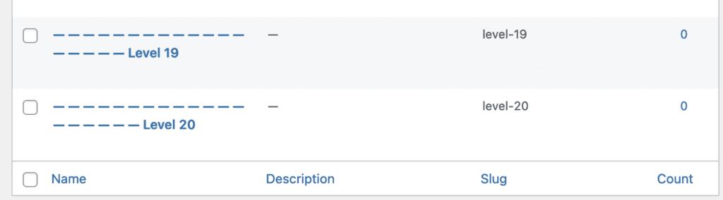Categories screen for WordPress subcategories