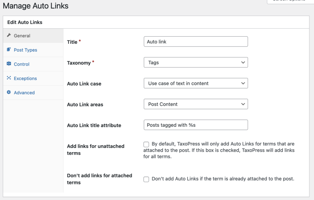 Auto-Links General options