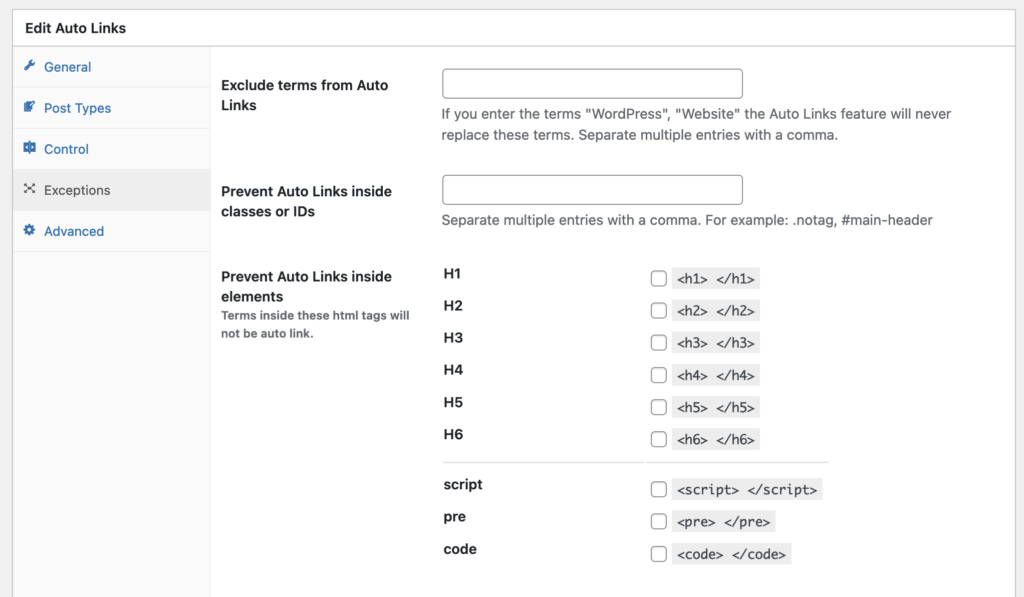 Auto-Links exceptions options