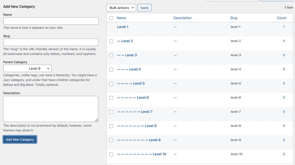 Adding new WordPress subcategories