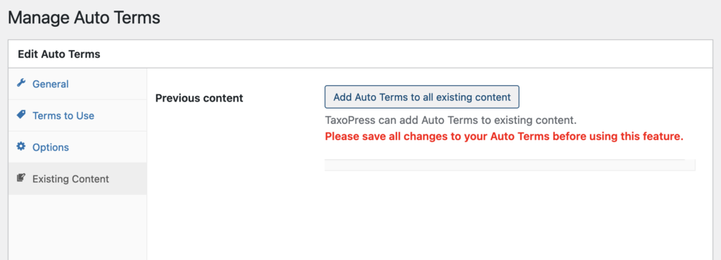 Add Auto Terms to all existing content