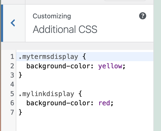Custom CSS classes for Terms Display