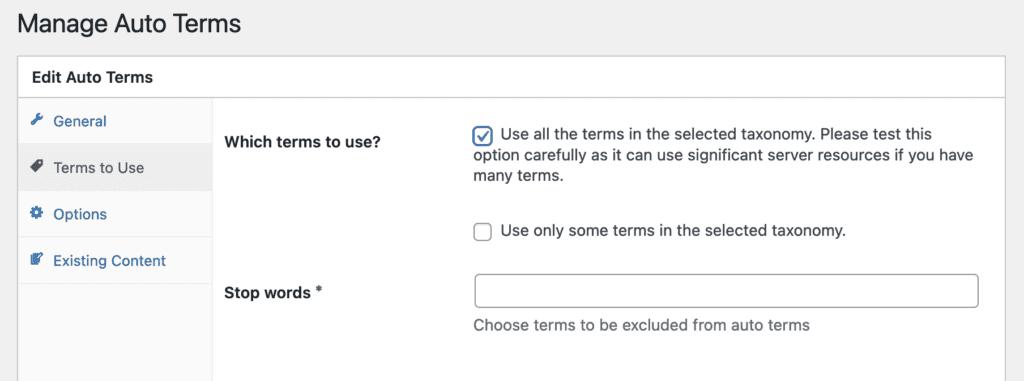 Auto Terms options